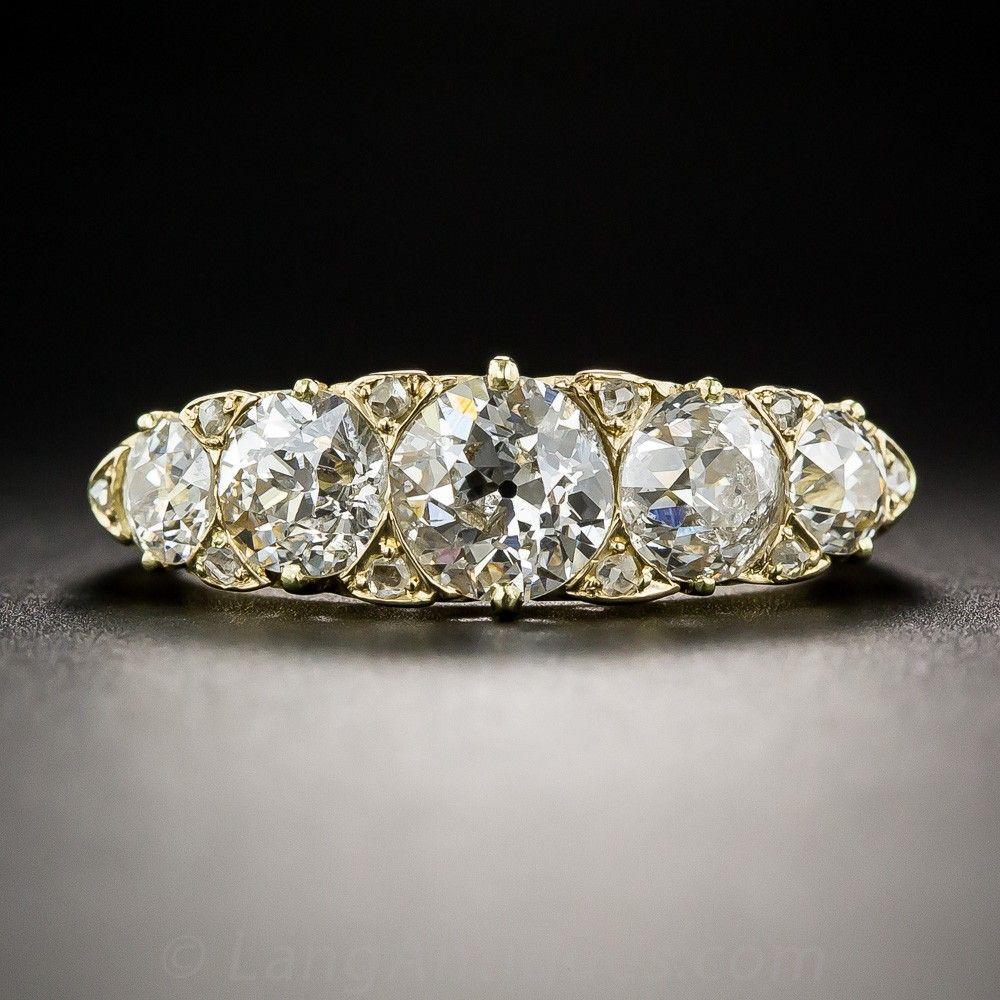 Antique English Five-Stone Diamond Ring - Antique & Vintage Diamond Rings - Vintage Jewelry