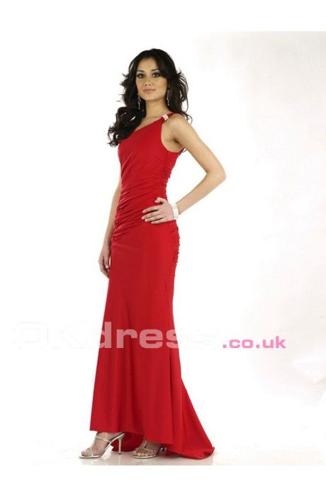 Chiffon One-shoulder Natural Beading Maxi Formal Dresses OKD602565 ...