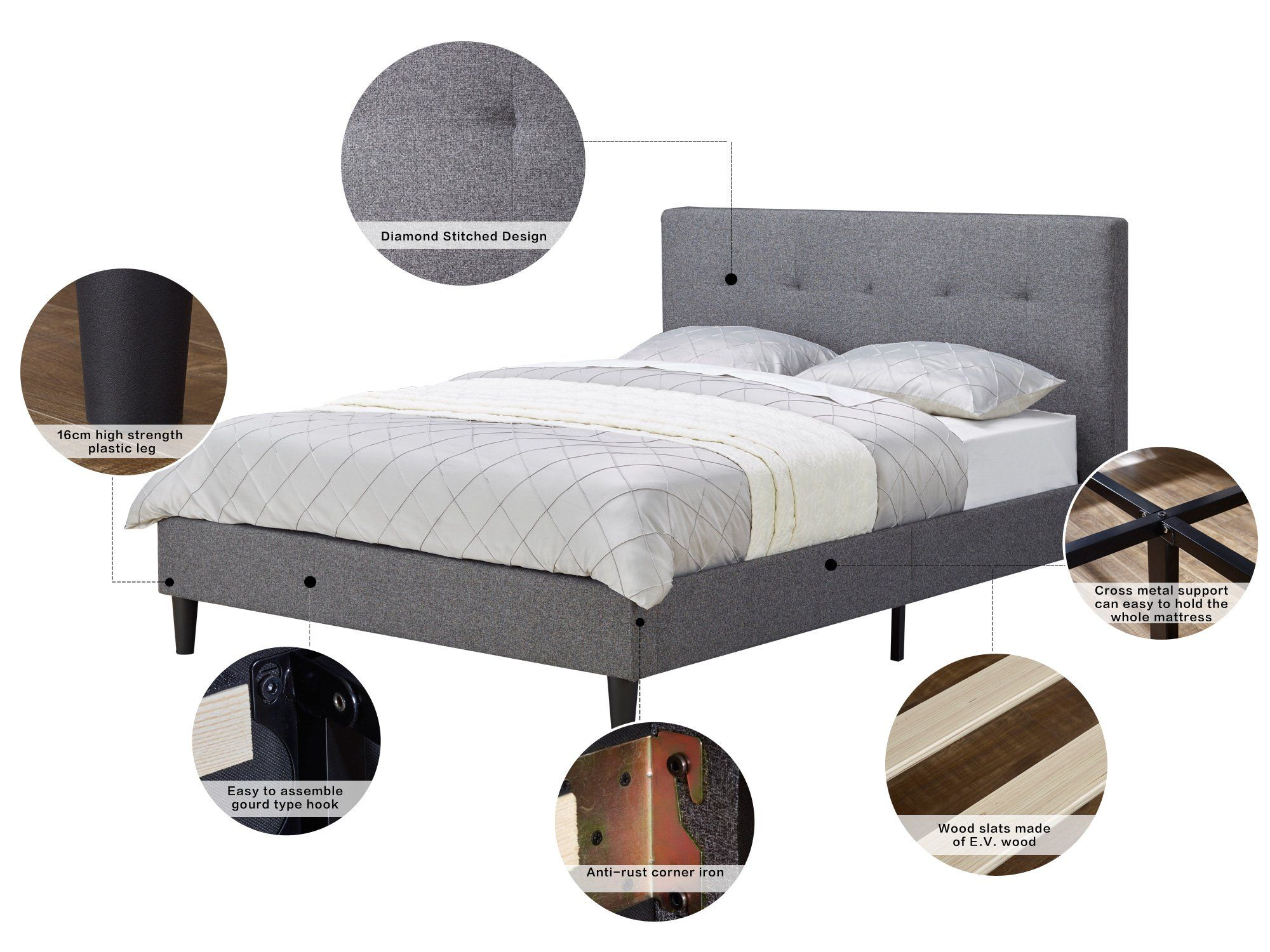 Musehome Upholstered Knighthood Platform Bed No Boxspring Needed