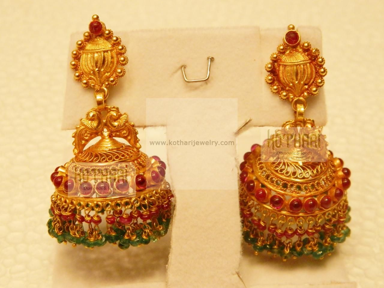 And contemporary gold jhumkas collection by khazana jewellery - Latest Gold Buttalu Designs Google Search