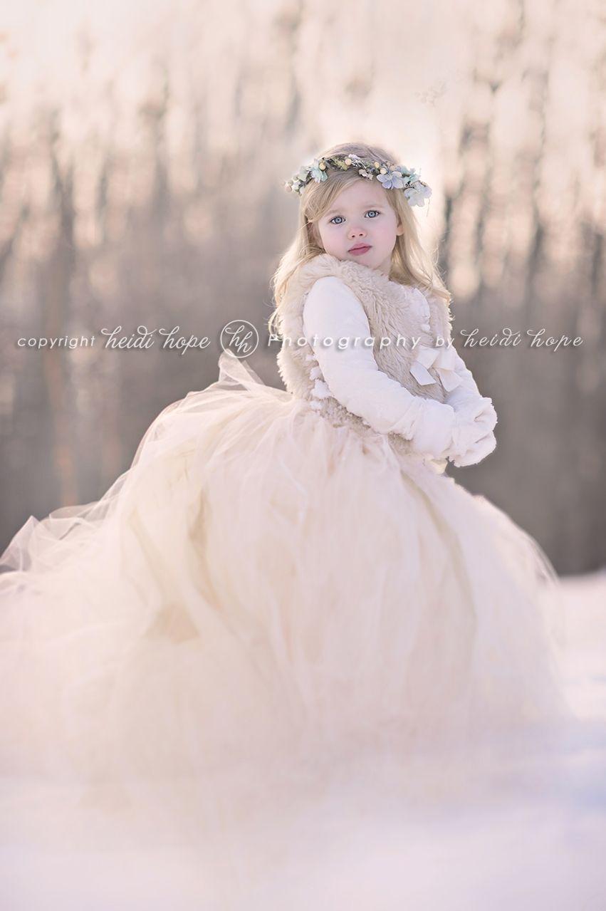 Throwback snow portraits tutu snow winter wonderland children
