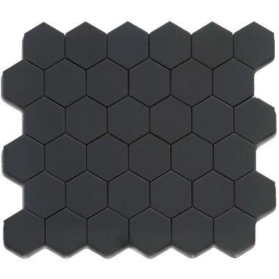 Cc Mosaics Tiles Glazed Porcelain Black Hexagon Tile Shower Floor Tile Hexagonal Mosaic
