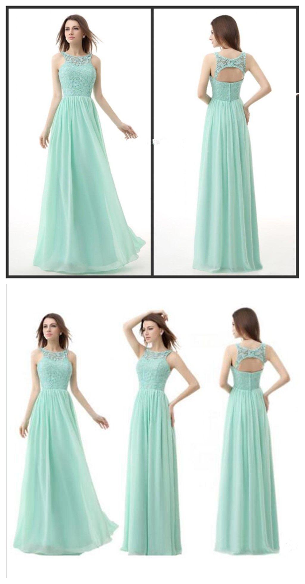 Mint lace bridesmaid dresses, open back bridesmaid dresses, chiffon ...