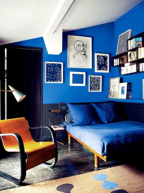 Royal Blue Black And Modern Blue Interior Blue Rooms Interior