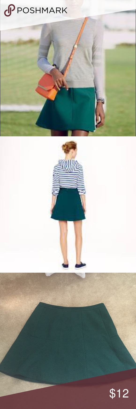 J.Crew Green Fluted Skirt in Double Crepe Classic fluted skirt in double crepe, gorgeous fir green color is perfect for fall! J. Crew Skirts Mini