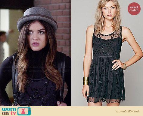 Aria's black beaded dress on Pretty Little Liars.  Outfit Details: http://wornontv.net/34216/ #PLL