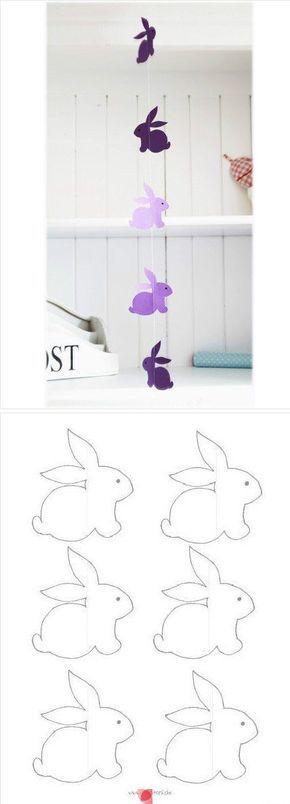 Hasengirlande für Ostern mit Vorlage zum Ausdrucken! #diy #basteln ...