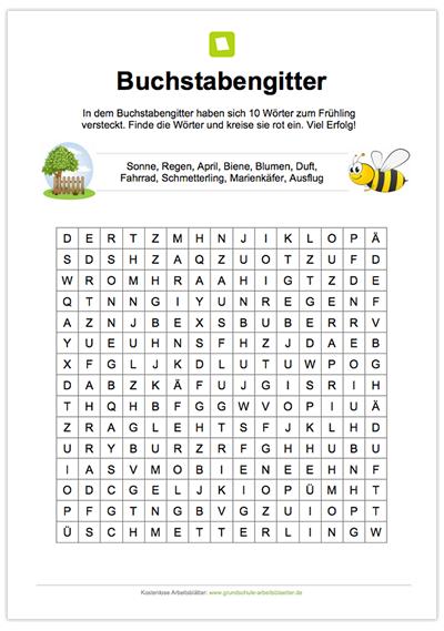 Ein kostenloses Rätsel mit einem Buchstabengitter, in dem sich 10 ...