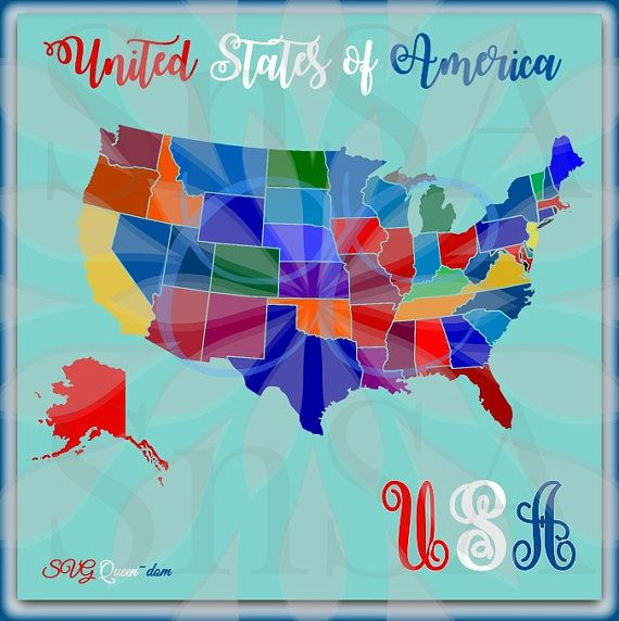 Usa Svg Map Divided State Separate Home Flag Monogram Tennessee