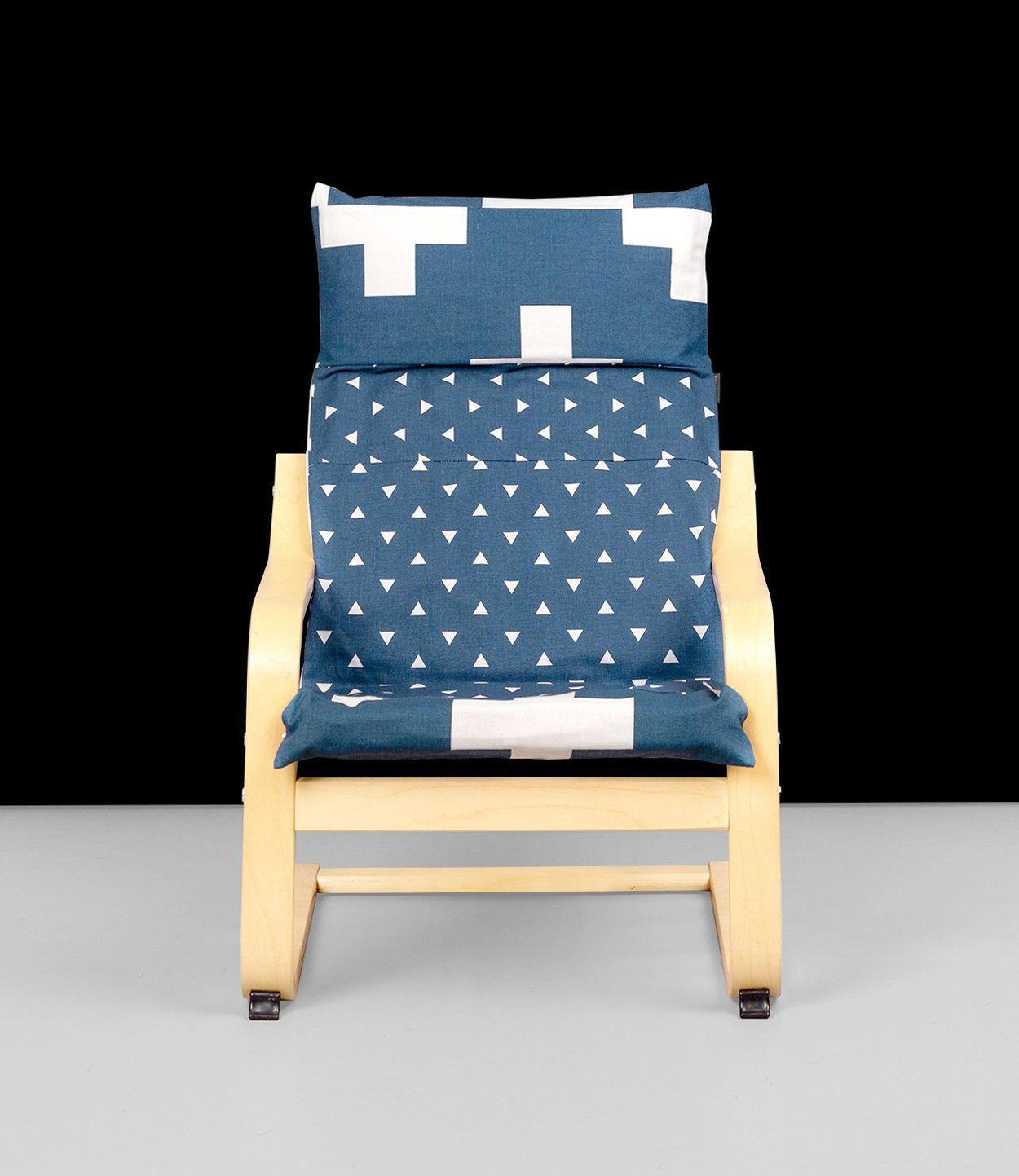 IKEA KIDS POÄNG Cushion Slipcover, Navy Blue Crosses