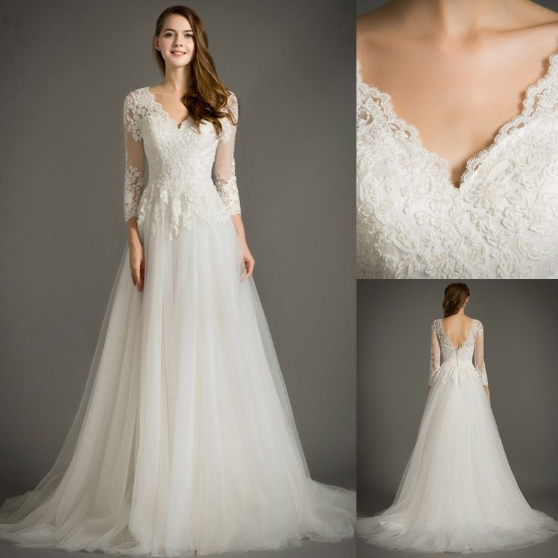 White Ivory Lace Tulle Wedding Dresses 3 4 Sleeves Long Bridal Formal Ball Gowns