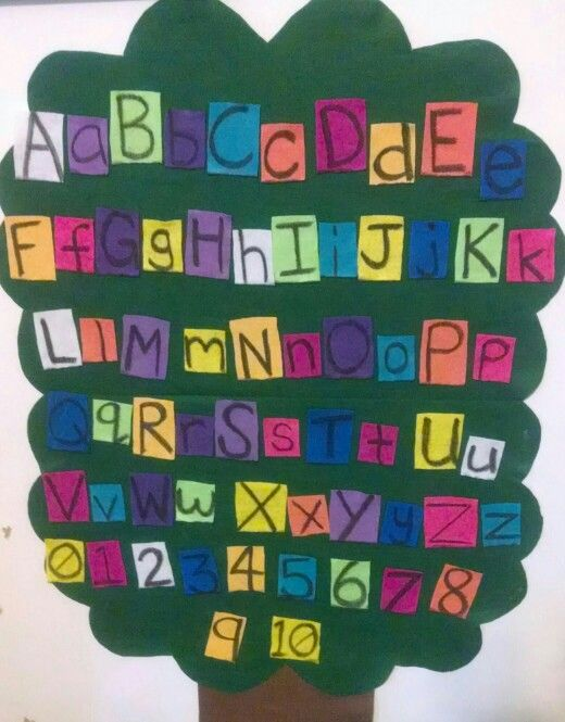 Felt sticks to felt! Alphabet and number tree. Cheap and easy. Toddlers can remove and replace letters and numbers as much as