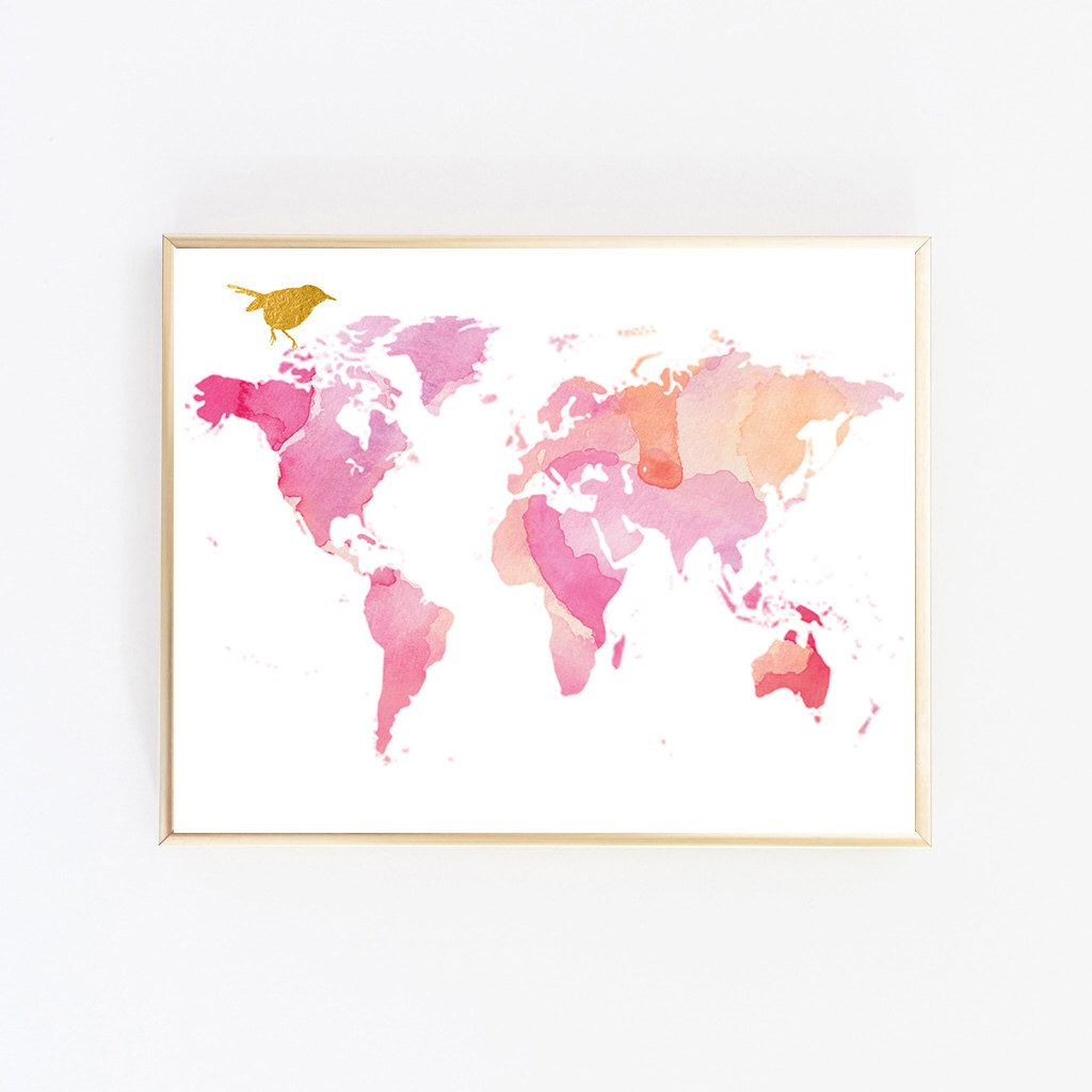 World map wall art map art print rose gold decor world map poster map wall art rose gold decor map painting world map poster large gumiabroncs Gallery