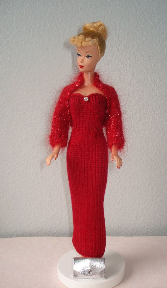 Barbie Handmade, hand Knitted Party Gown W/Shrug and Clutch-E609