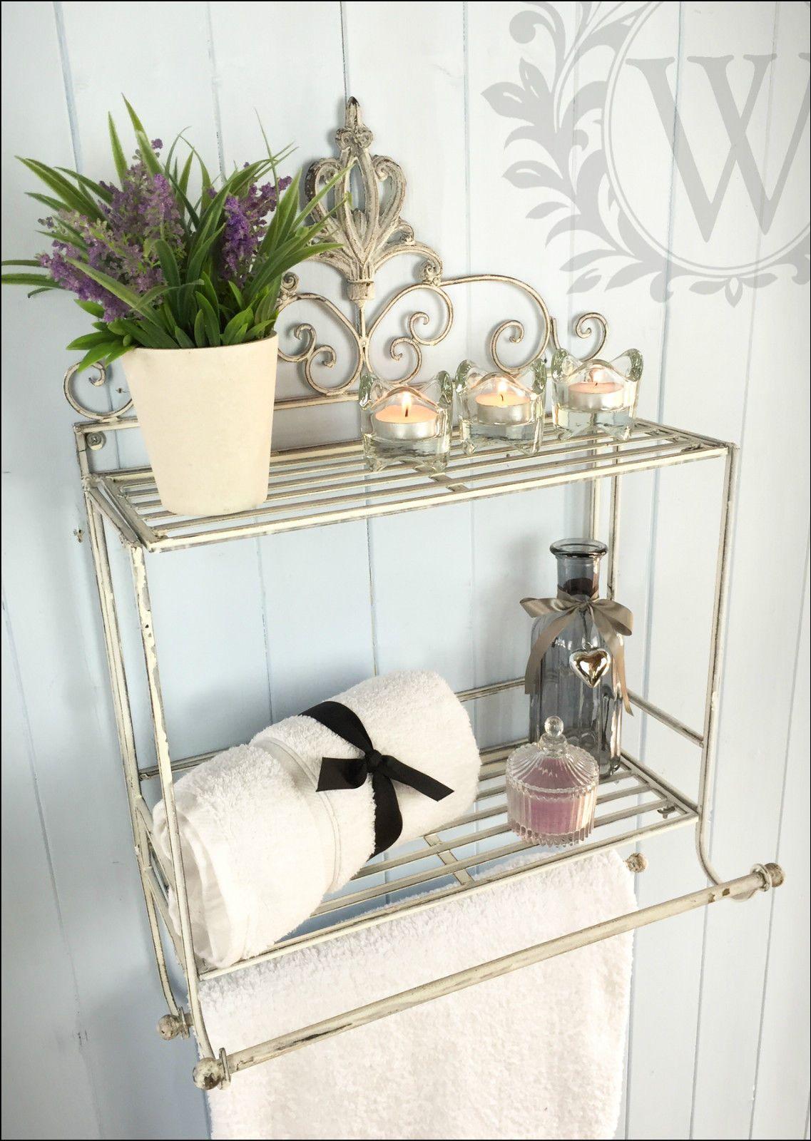 Shabby Chic Metal Scroll Shelf Hanging Storage Towel Rail Cream Unit ...