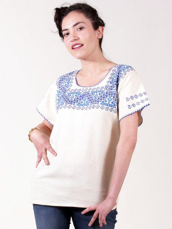 Blusa bordada mexicana en punto de cruz - Arte-Nativo | blusas y ...