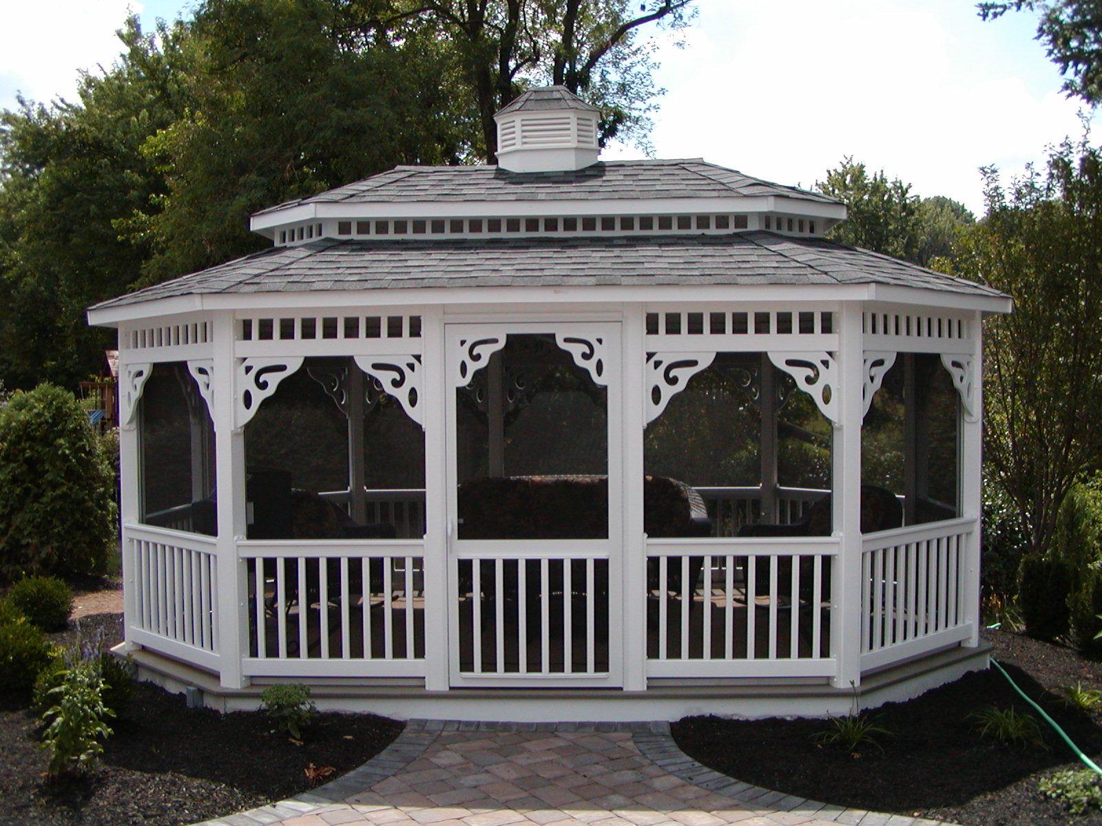 Oblong Gazebo installed by R&R CADDICK off paver patio