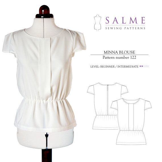 Minna blouse PDF Sewing pattern by Salmepatterns on Etsy | Sewing ...