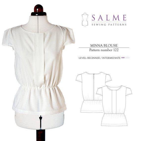 Minna blouse PDF Sewing pattern - Salme Patterns | Modern sewing ...