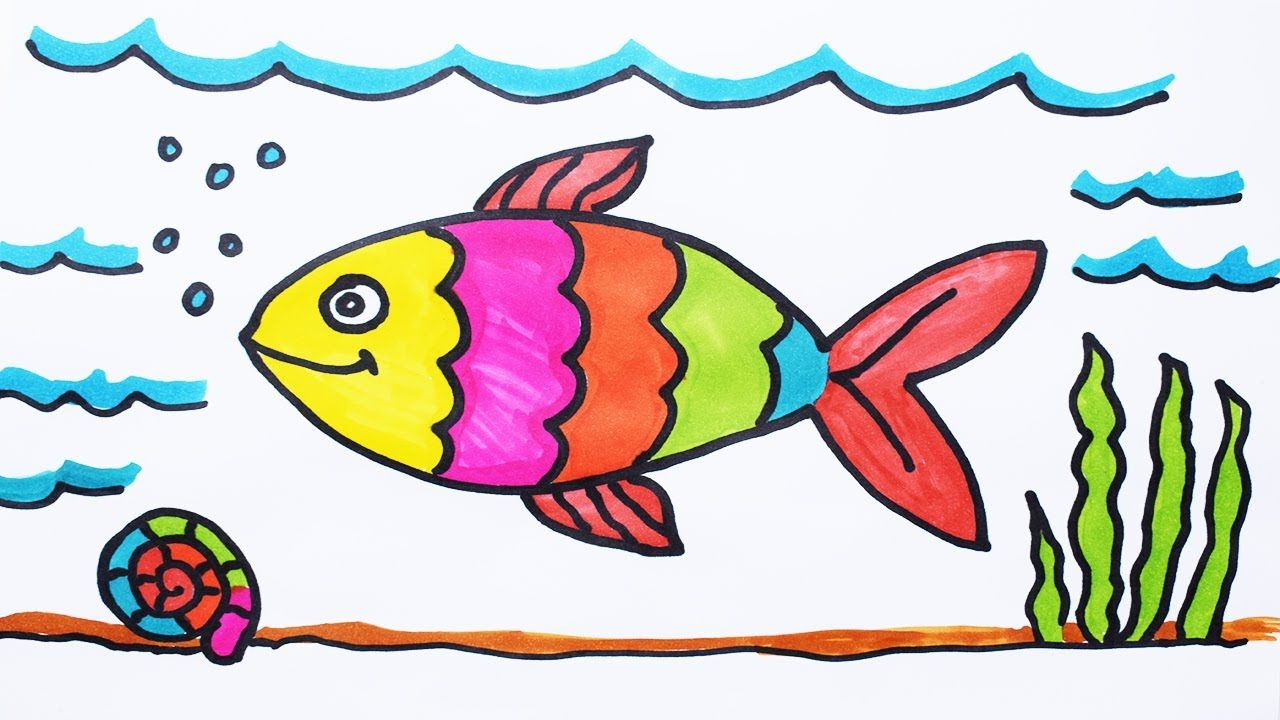 How To Draw Fish And Coloring Fish Under Water For Kids How To Color A Boat On Sea Youtube Easy Fish Drawing Drawn Fish Fish Drawings