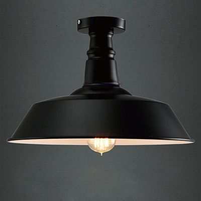 14 Wide Semi Flush Ceiling Light In Barn Shade Textured Black
