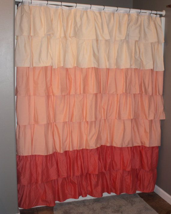 coral-ombre-ruffle-shower-curtain | bathroom decor | pinterest