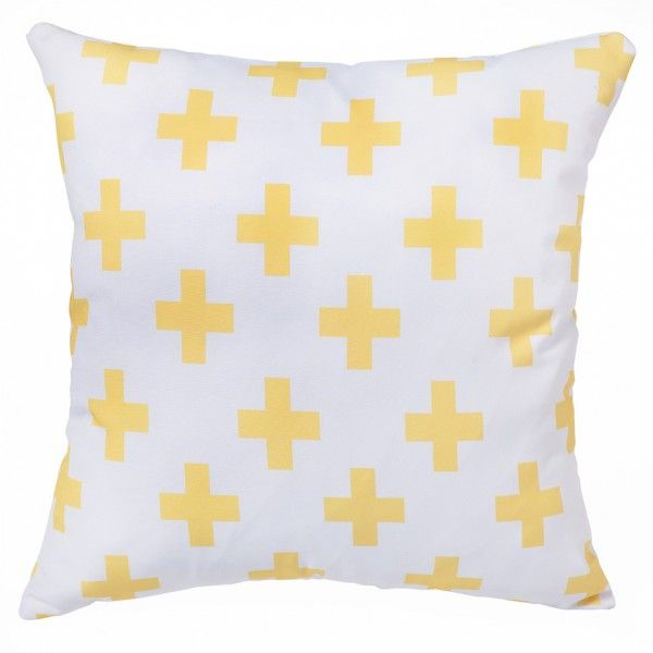 Yellow Swiss Cross Cushion