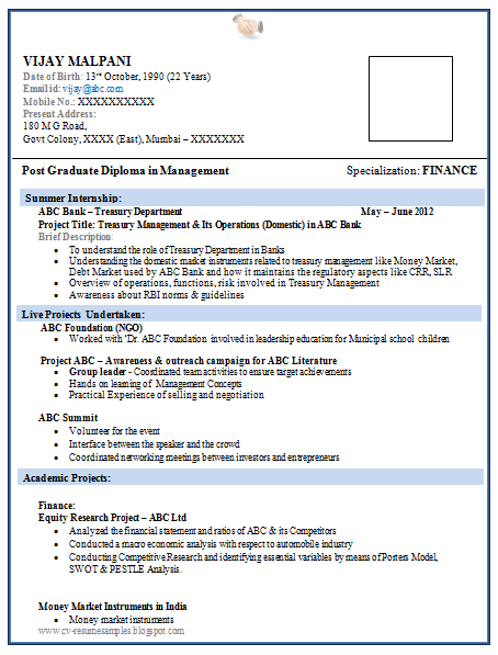 resume format for mba fresher