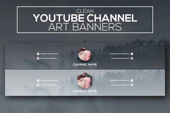 Clean Youtube Channel Art Banners by RussGFX on @creativemarket