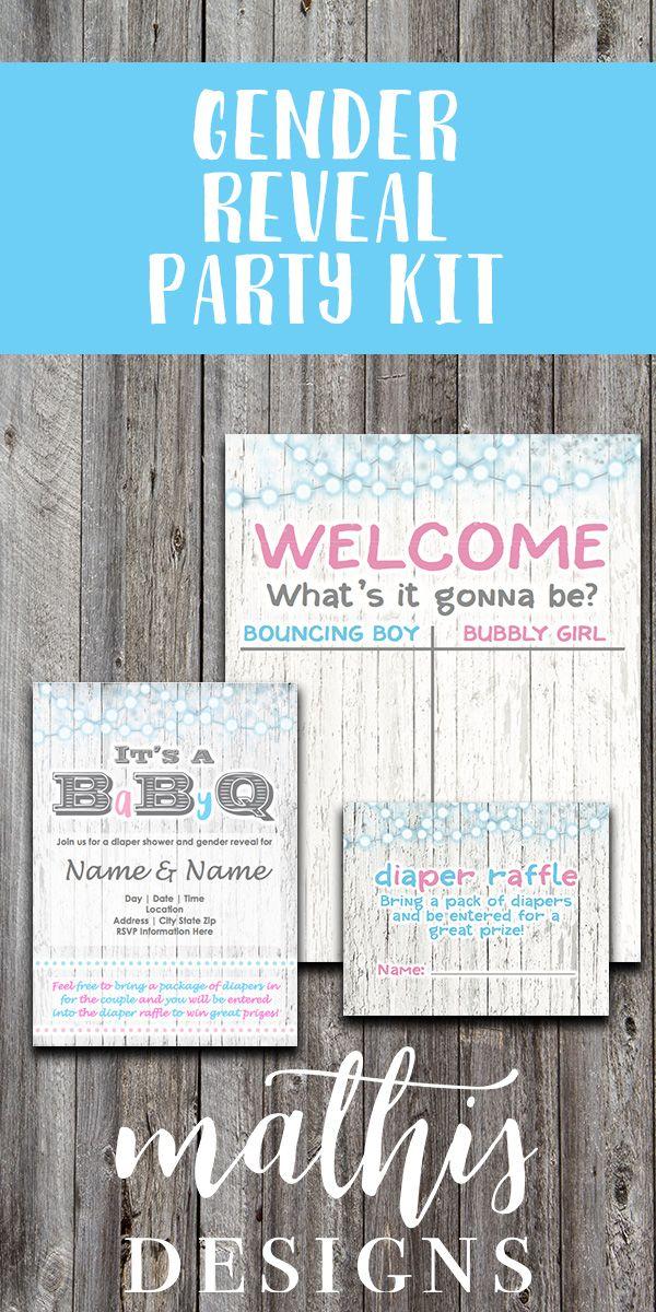Gender Reveal Party Invitation Kit, Gender Reveal BBQ Invitation, Gender Reveal Guess Book, Gender Reveal Diaper Raffle, Gender Reveal Party