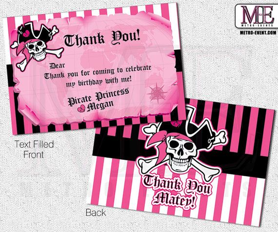 Pirate Princess Thank You Cards Pirate Princess by MetroEvents