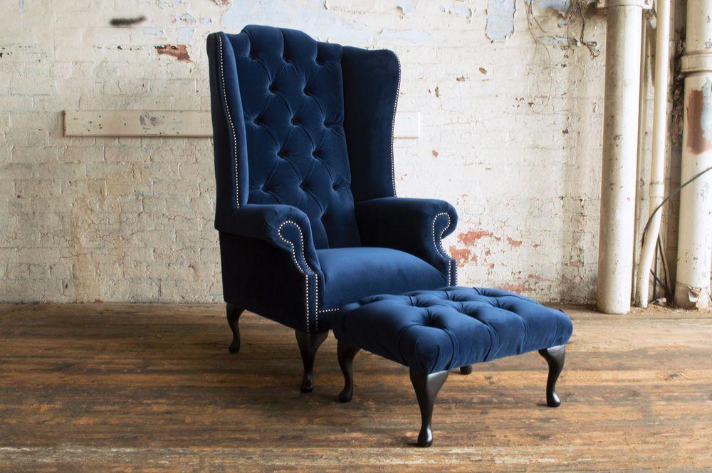 Best Details About Handmade Plush Navy Blue Velvet Chesterfield 400 x 300