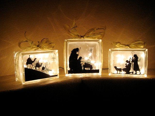 Glass block nativity. Beautiful!