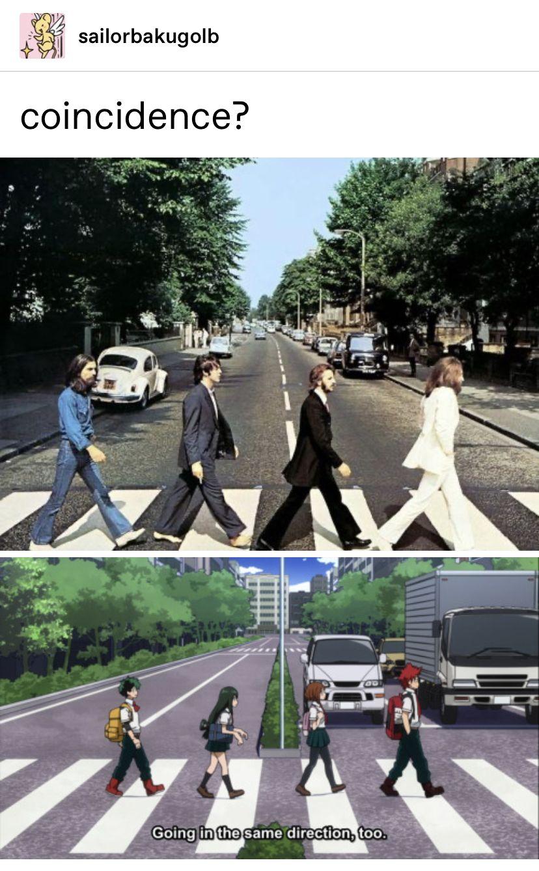 Photo of the Beatles and my hero academia