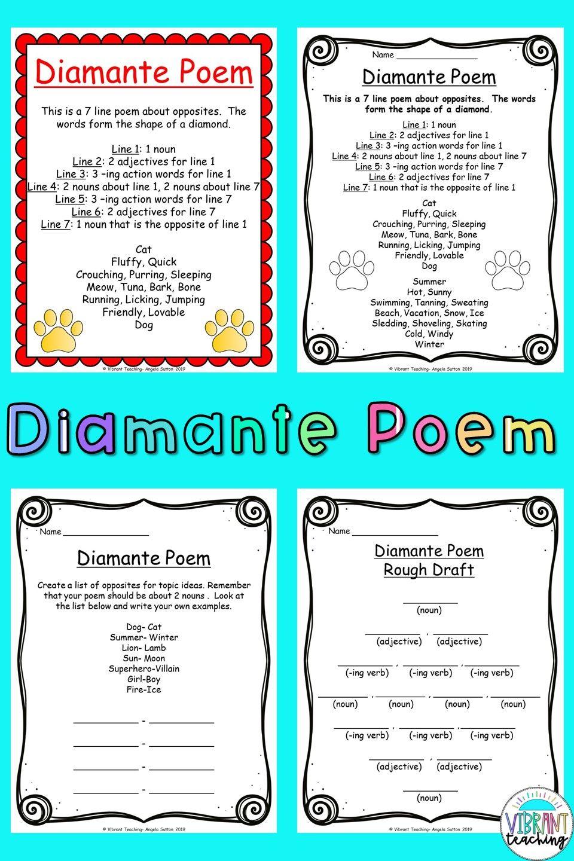 Diamante Poems  Poetry for kids, Teaching poetry, Poem activities