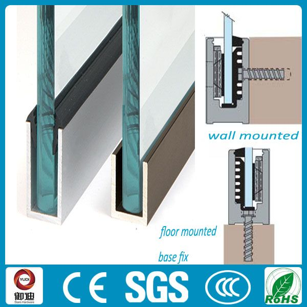 U Channel Plexiglass Panel Balustrade Aluminum Glass Channel