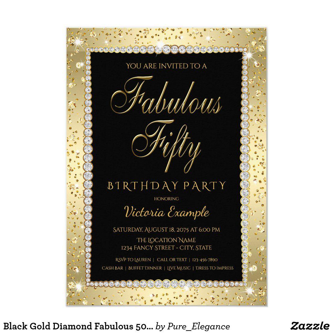 Black Gold Diamond Fabulous 50 Birthday Invitation in 2020 | 50th birthday  invitations, 50th birthday party invitations, Birthday invitations