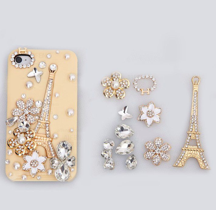 Cell Phone Bling Kits Tower Bling Crystal Flower Diy Cell Phone Case Shell Cover Deco Kit Cell Phone Cases Diy Crystal Phone Case Bling Phone Cases