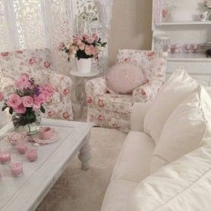 Shabby Chic Style Living Room With White Sofa And Floral Arm ..