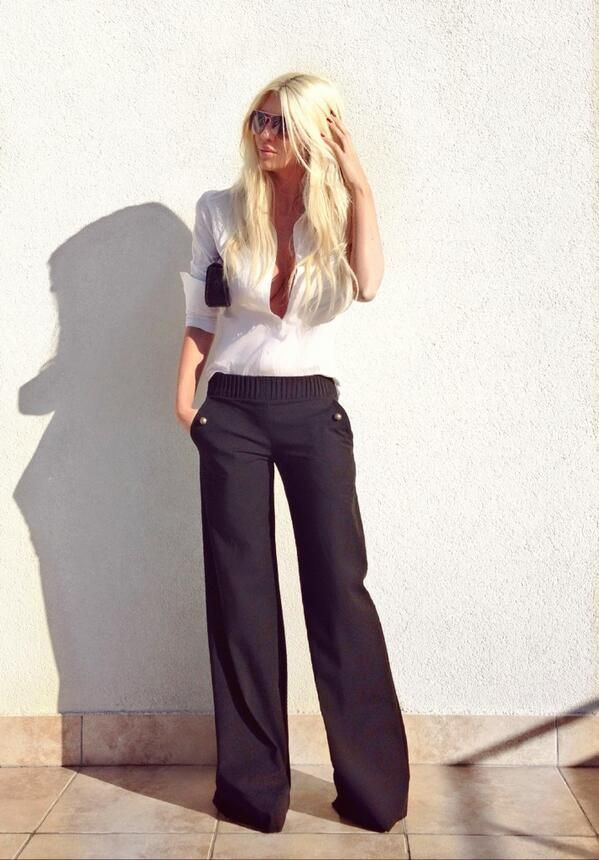 Black wide dress pants