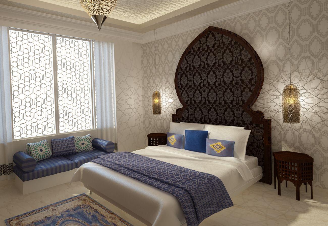Moroccan style master bedroom 3ds max 3d render moroccan bedroom