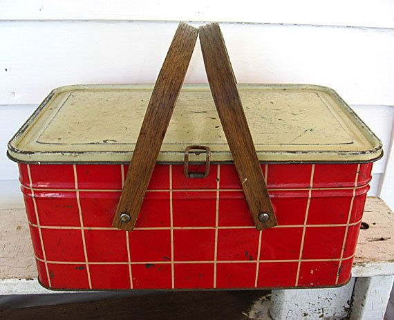 1940 Vintage Red And White Plaid Tin Wooden Handled Lunch
