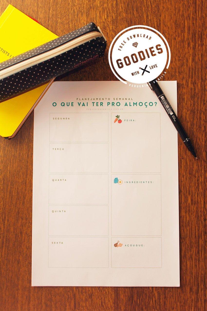 Download: Planner semanal de almoço