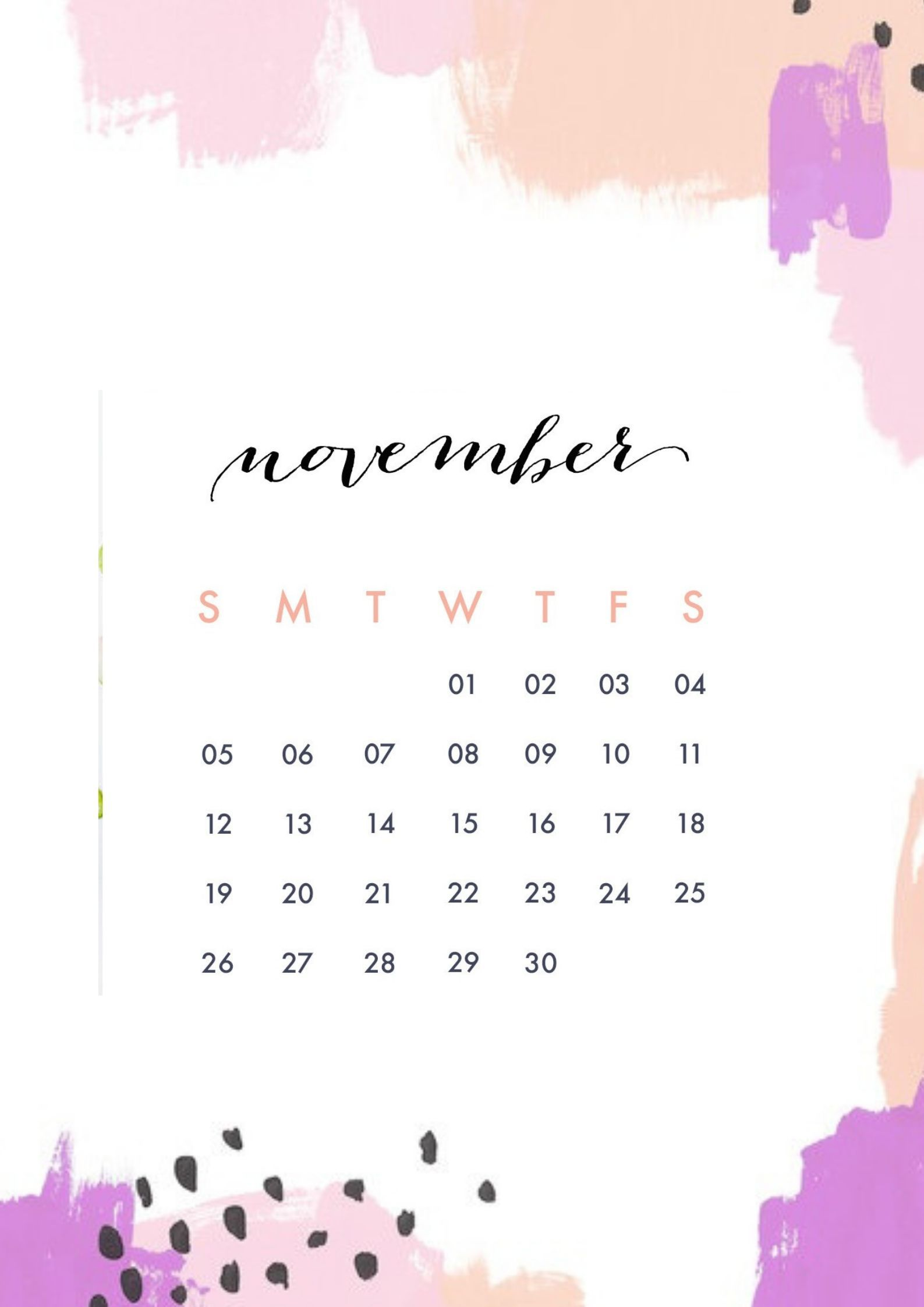 November 2018 Mobile Calendar Calendar App Screen Savers Mobile Screensaver