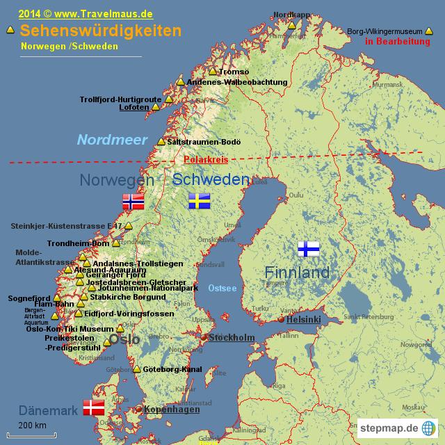Karte Norwegen Schweden.Norwegen Sehenswurdigkeiten Norway Norwegen