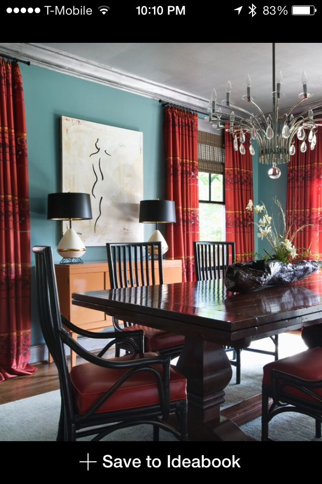 Teal Paint Accenting Red Curtains Beautiful Dining Rooms