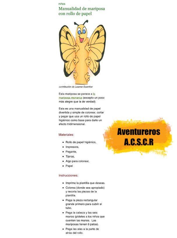 Mariposas manualidad aventureros Asociación central Sur de Costa ...