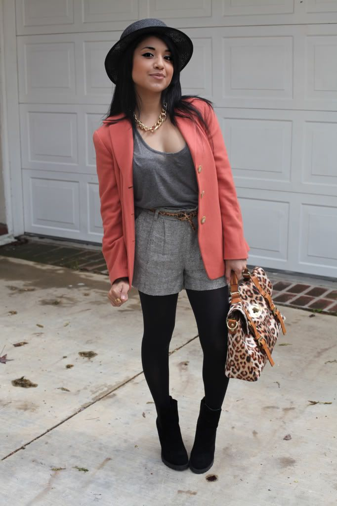 tights + shorts + blazer = adorable fall outfit