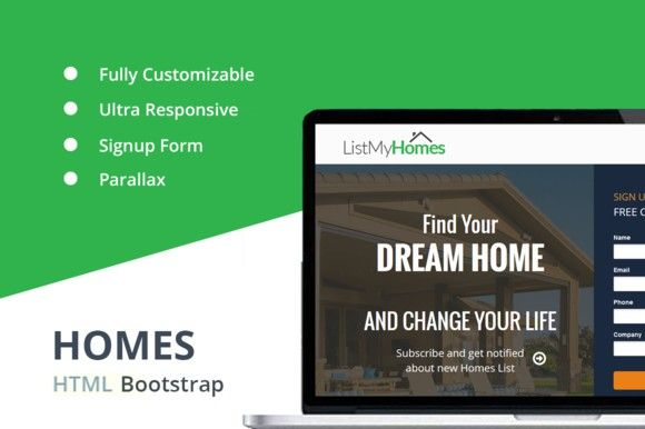 Homes - HTML Landing Page Pinterest