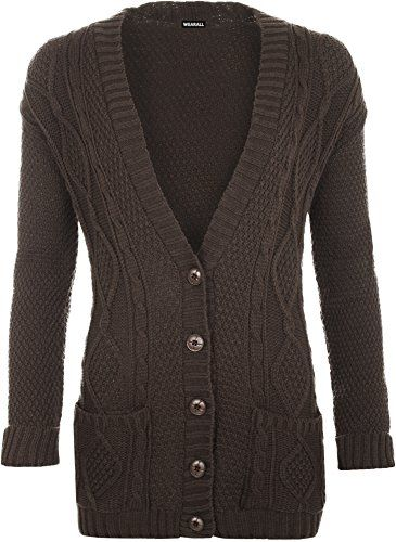 WearAll Women's Cable Knitted Button Cardigan Ladies Long Sleeve ...